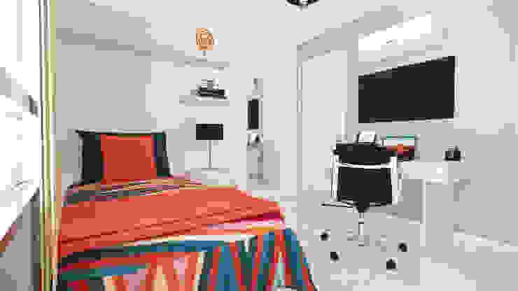 Alcoba Auxiliar. de DIKTURE Arquitectura + Diseño Interior Moderno Madera Acabado en madera