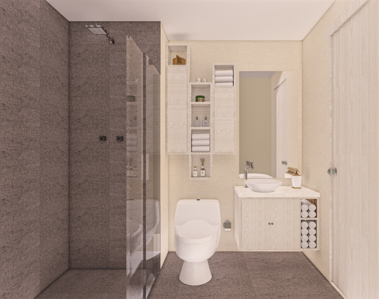 Baño Principal. de DIKTURE Arquitectura + Diseño Interior Moderno Madera Acabado en madera