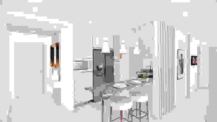 Recibo y cocina. de DIKTURE Arquitectura + Diseño Interior Moderno Madera Acabado en madera