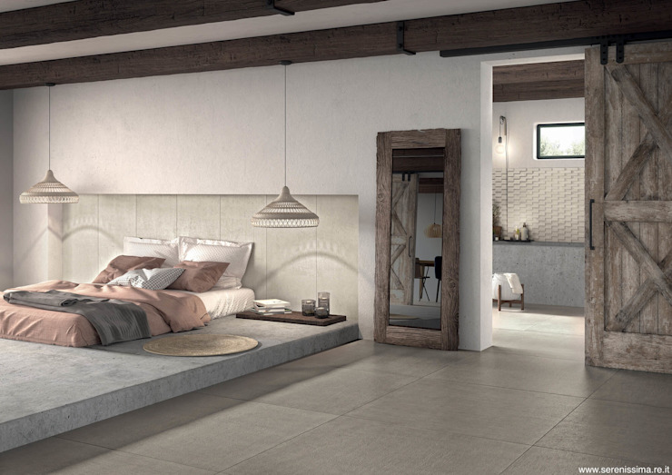 Dimensione Edilizia Modern style bedroom Tiles Grey