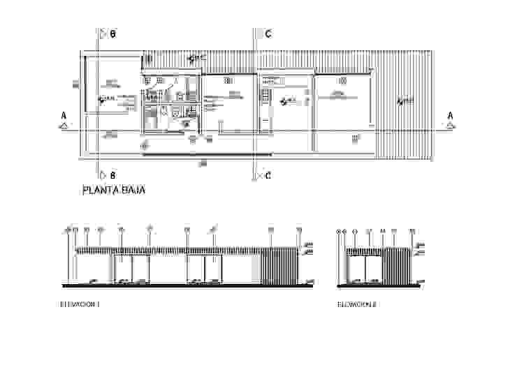 CASA ROCA   Plano y cortes REZ Arquitectura   Diseño   Construcción Casas unifamiliares