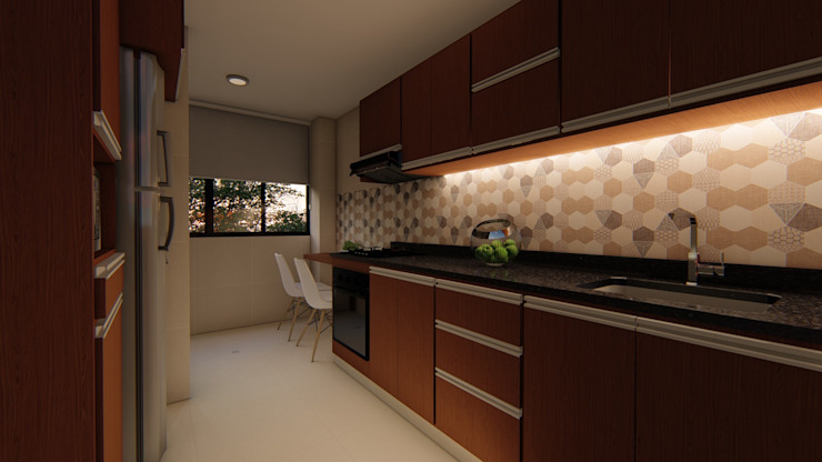 Diseño interior - cocina noche. de DIKTURE Arquitectura + Diseño Interior Moderno Madera Acabado en madera