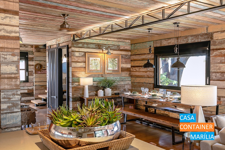 Country style dining room by Casa Container Marilia - Arquitetura em Container Country