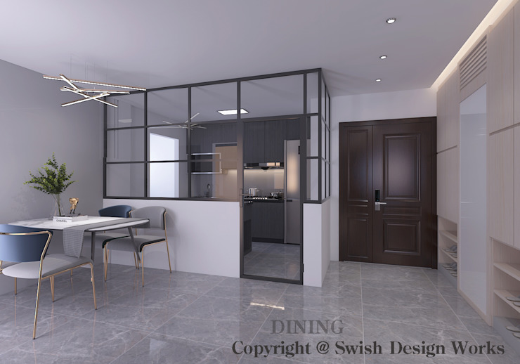 Dining Area and Kitchen Option 2 Modern dining room by Swish Design Works Modern