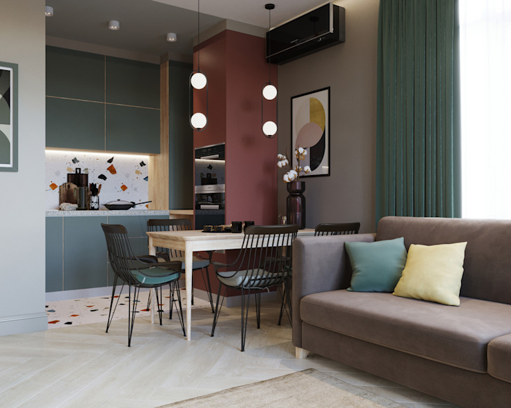 SAPAROVA design interior Small kitchens Tiles Multicolored