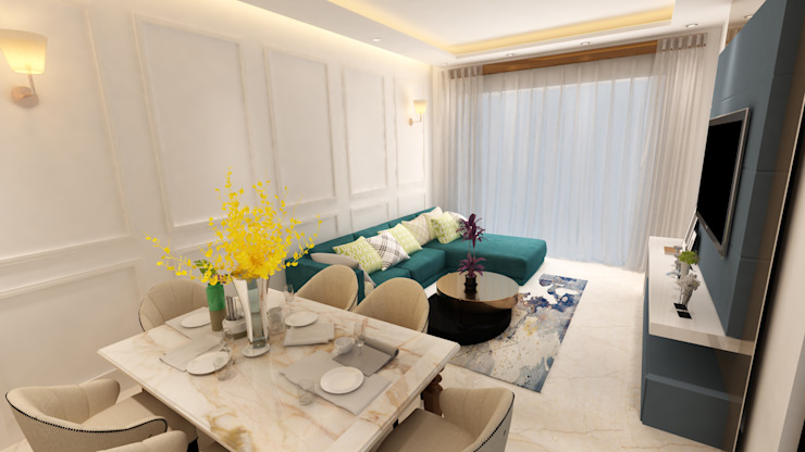 Living & Dining area Modern living room by HC Designs Modern MDF