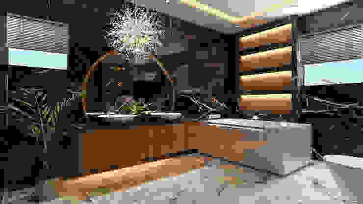 Black & White bathroom : modern  by HC Designs,Modern Granite