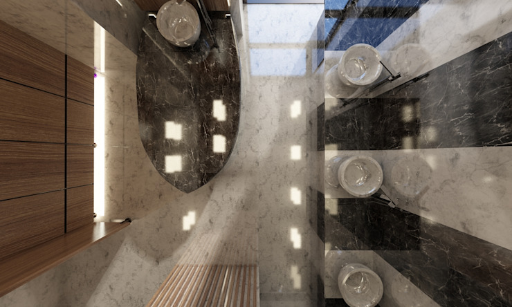Holiday Inn - Hamam Projesi Kut İç Mimarlık Modern Banyo Granit Gri