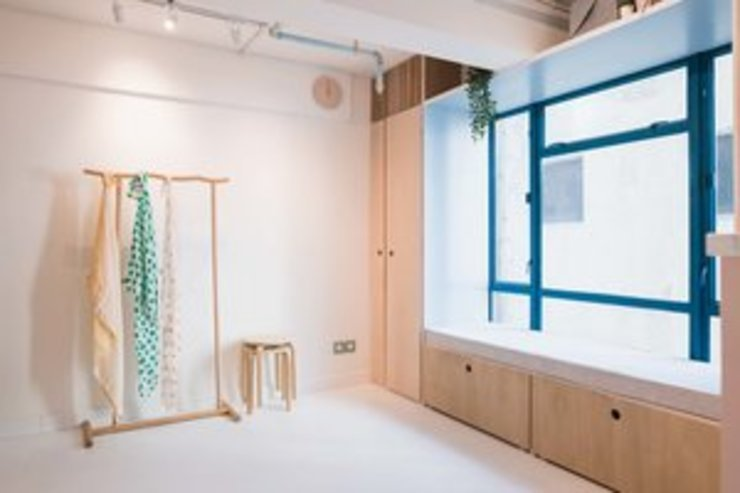 Guest Window Seating S.Lo Studio Minimalist offices & stores Plywood Wood effect