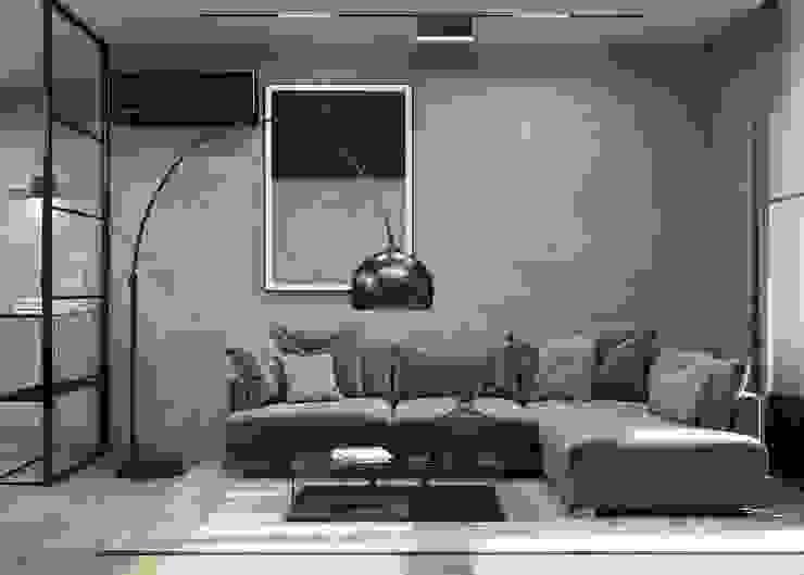 Гостиная без лишних деталей GM-interior Гостиная в стиле минимализм Серый