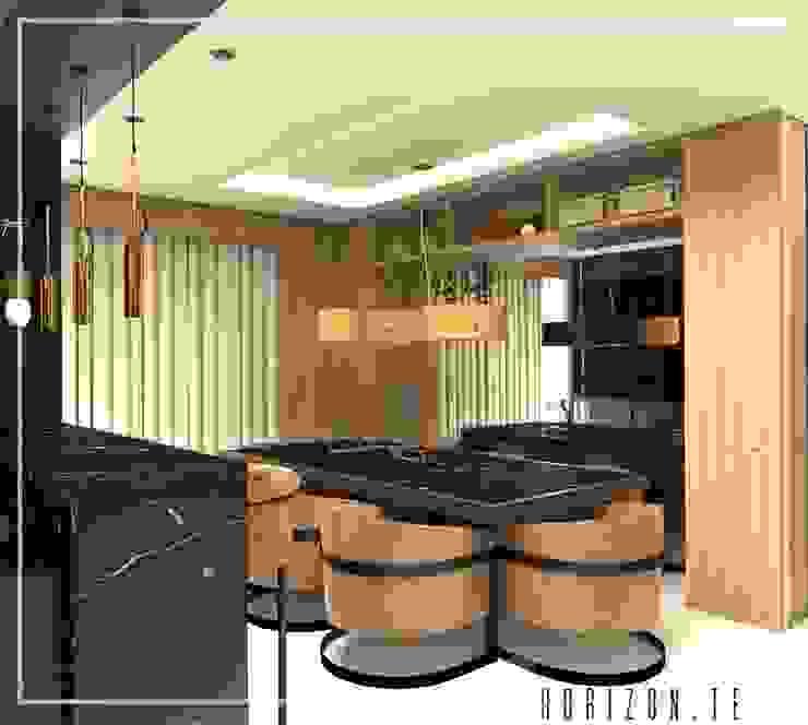 | SALA DE JANTAR INTEGRADA COM A COZINHA E A SALA DE ESTAR | Salas de jantar modernas por Stúdio Horizon.te | Arquitetura e Urbanismo Moderno Madeira Efeito de madeira