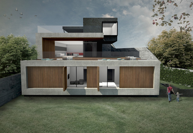 RAWI Arquitetura + Design Single family home Concrete Grey