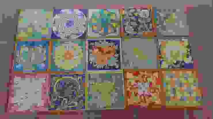 Patchwork con piastrelle decorate a mano di Caltagirone di Ceramiche Il Rustico Caltagirone Mediterraneo Ceramica