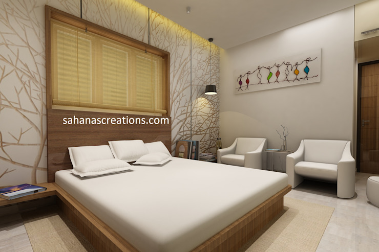 Master Bed room Interior Designs Minimalist bedroom by Sahana's Creations Architects and Interior Designers Minimalist