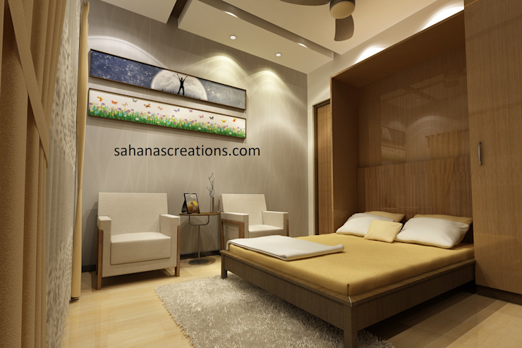 Bed room Interiors Minimalist bedroom by Sahana's Creations Architects and Interior Designers Minimalist