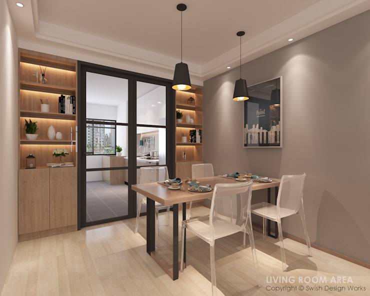 Dining Area Swish Design Works Modern dining room Plywood Wood effect