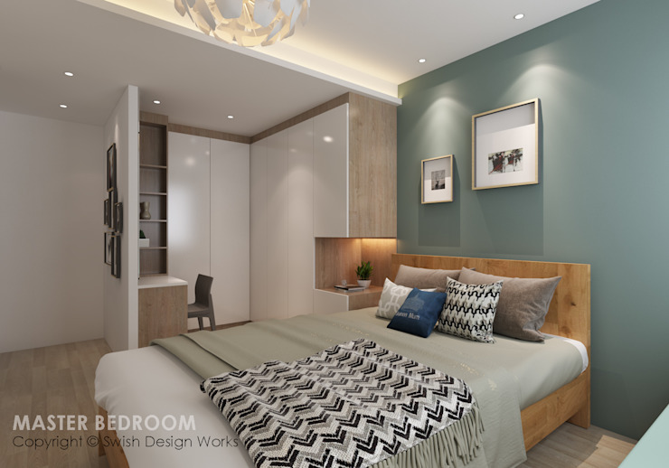 Master bedroom Swish Design Works Small bedroom Plywood Turquoise