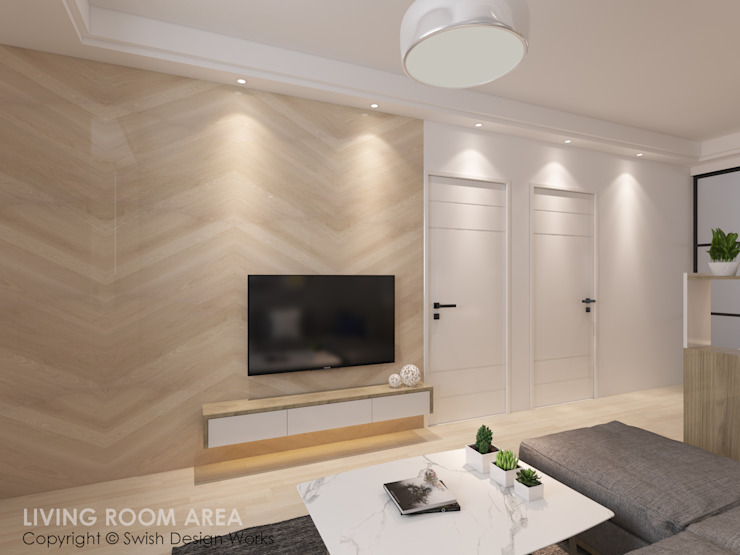 TV Feature Wall Swish Design Works Modern living room Plywood Wood effect