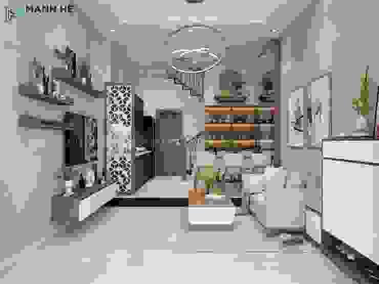 Tổng thể không gian ngôi nhà tuân theo tone trắng - nâu gỗ bởi Công ty TNHH Nội Thất Mạnh Hệ Hiện đại