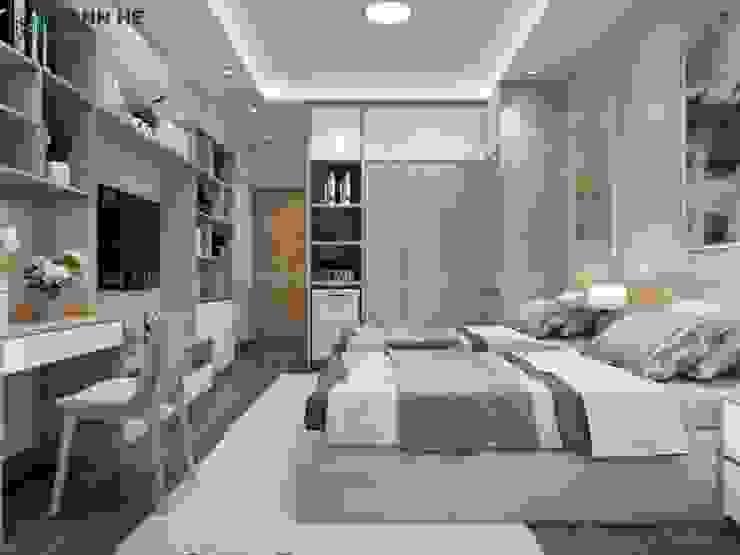 Tủ quần áo gỗ công nghiệp đụng trần cỡ lớn bởi Công ty TNHH Nội Thất Mạnh Hệ Hiện đại