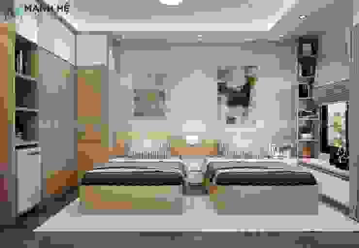 Vách ốp đầu giường bằng gỗ giúp giảm thiểu bụi bẩn bám vào vách tường bởi Công ty TNHH Nội Thất Mạnh Hệ Hiện đại