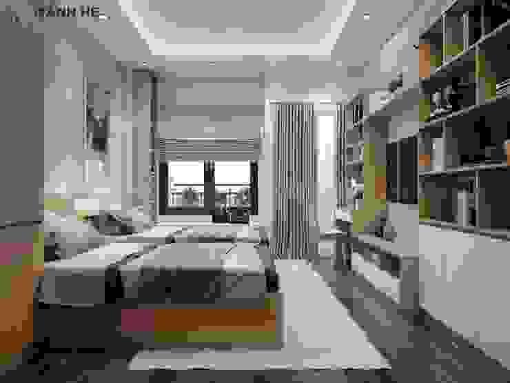 Thiết kế nội thất phòng ngủ master nhẹ nhàng với tone màu gỗ công nghiệp sáng bởi Công ty TNHH Nội Thất Mạnh Hệ Hiện đại