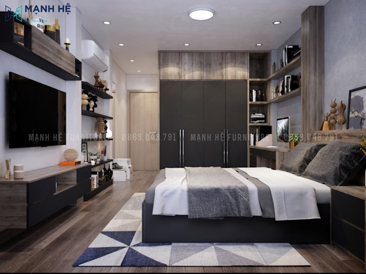 Giường ngủ gỗ công nghiệp kết hợp vách ốp đầu giường đồng điệu bởi Công ty TNHH Nội Thất Mạnh Hệ Hiện đại