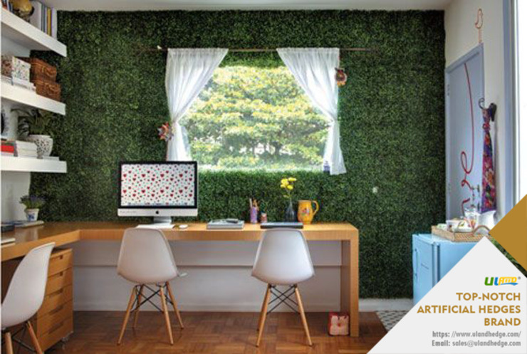 Study Room Decorated with Uland Artificial Box Hedge: modern  by Sunwing Industrial Co., Ltd.,Modern Plastic