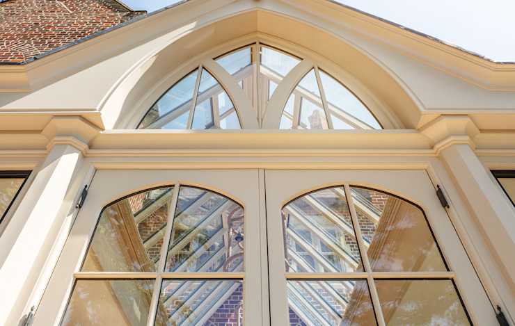 Close up of decorative gable end on a large bespoke orangery Vale Garden Houses Classic style conservatory Wood Beige
