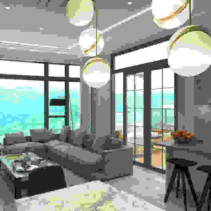 朗逸峯 The Cairnhill | Tsuen Wan 荃灣 | Hong Kong 香港 Modern living room by Nelson W Design Modern Engineered Wood Transparent