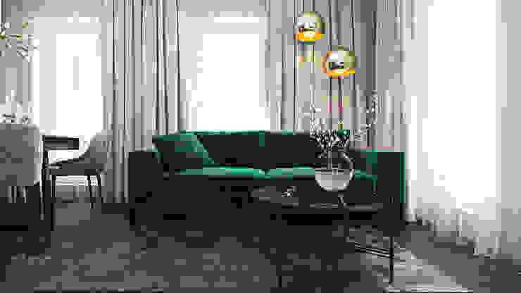Wnętrza skąpane w szarościach Nowoczesny salon od Ambience. Interior Design Nowoczesny