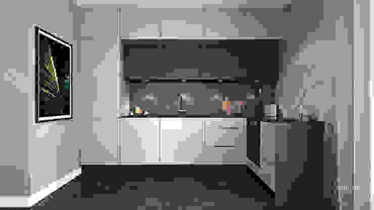 Wnętrza skąpane w szarościach Nowoczesna kuchnia od Ambience. Interior Design Nowoczesny