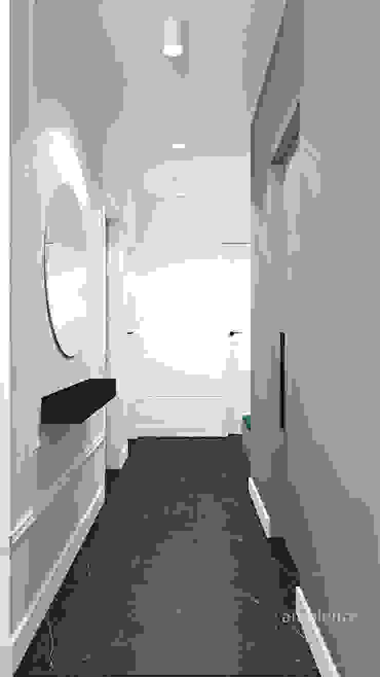 Wnętrza skąpane w szarościach Nowoczesny korytarz, przedpokój i schody od Ambience. Interior Design Nowoczesny