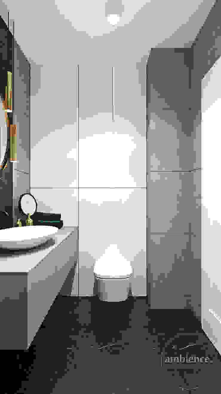 Wnętrza skąpane w szarościach Nowoczesna łazienka od Ambience. Interior Design Nowoczesny