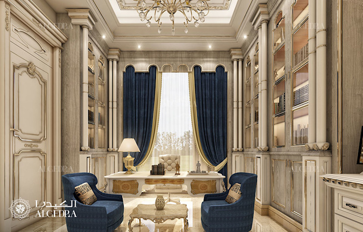 Экслюзивный дизайн домашнего офиса класса люкс в классическом стиле Рабочий кабинет в классическом стиле от Algedra Interior Design Классический