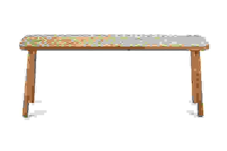 Benjamin bench White in Mud cloth pattern: scandinavian  by Saks Corner cc, Scandinavian Wood Wood effect