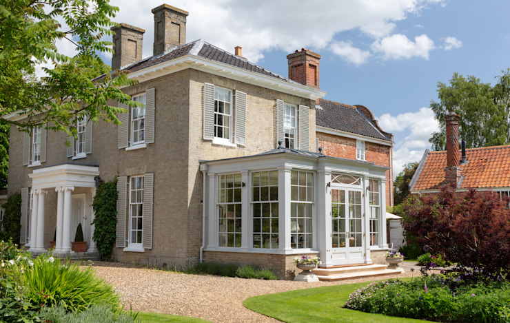Alternative angle of a Georgian country house extended with a bespoke orangery Vale Garden Houses Konservatori Klasik Kayu White