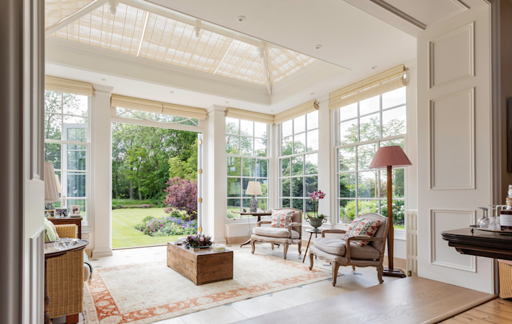 Interior view of a beautiful orangery looking out to the garden Vale Garden Houses Konservatori Klasik Kayu White