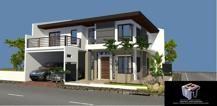 2 STOREY RESIDENTIAL BUILDING MGTua Architects + Design Innovations Townhouse Concrete