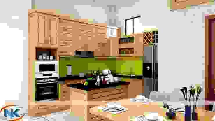 Tủ bếp gỗ sồi mỹ cao cấp , độ bền cực cao cùng màu sắc tự nhiên 100% bởi Nội thất Nguyễn Kim