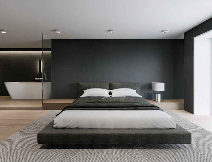 EJ Studio Minimalist bedroom Concrete Grey