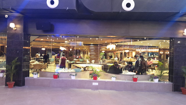 View from terrace to inside Modern bars & clubs by HC Designs Modern Plywood