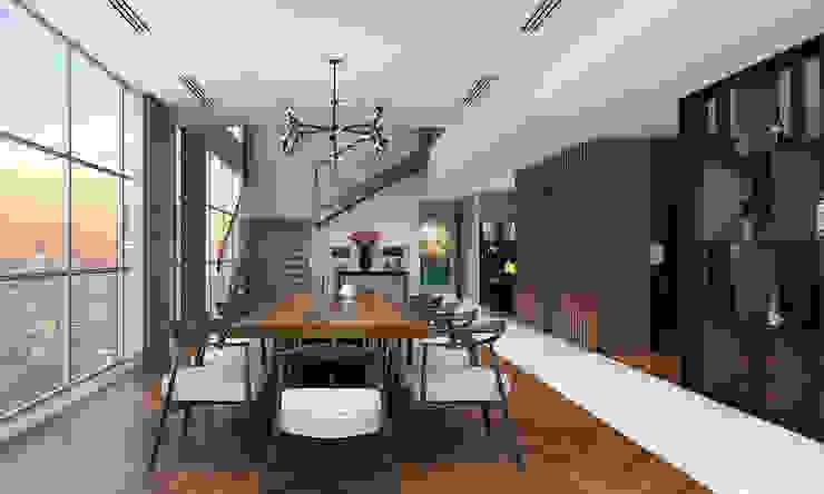 Thiết kế nội thất căn hộ Penthouse hiện đại Bluesky do CEEB Architects thiết kế. Phòng ăn phong cách hiện đại bởi CÔNG TY THIẾT KẾ NHÀ ĐẸP SANG TRỌNG CEEB Hiện đại