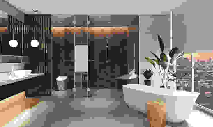 Thiết kế nội thất căn hộ Penthouse hiện đại Bluesky do CEEB Architects thiết kế. Phòng tắm phong cách hiện đại bởi CÔNG TY THIẾT KẾ NHÀ ĐẸP SANG TRỌNG CEEB Hiện đại