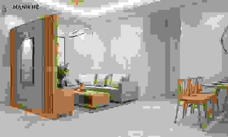 Vách ốp đá phòng khách cùng đèn thả nghệ thuật cho phòng khách sang trọng bởi Công ty TNHH Nội Thất Mạnh Hệ Hiện đại