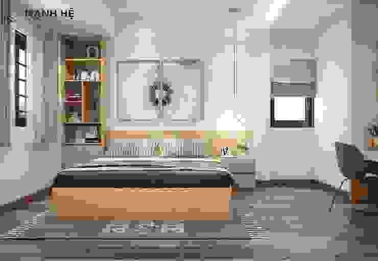 Vách ốp gỗ công nghiệp đầu giường liền tab đầu giường mini bởi Công ty TNHH Nội Thất Mạnh Hệ Hiện đại