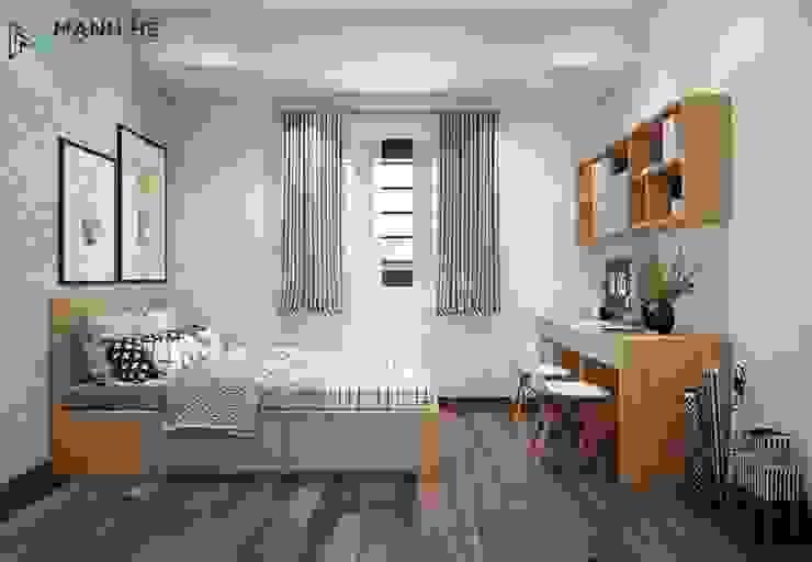Giường ngủ dạng bục cho phòng ngủ bé gọn gàng hơn bởi Công ty TNHH Nội Thất Mạnh Hệ Hiện đại