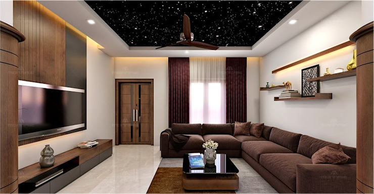 A fabulous modern living view design Classic style living room by Monnaie Interiors Pvt Ltd Classic
