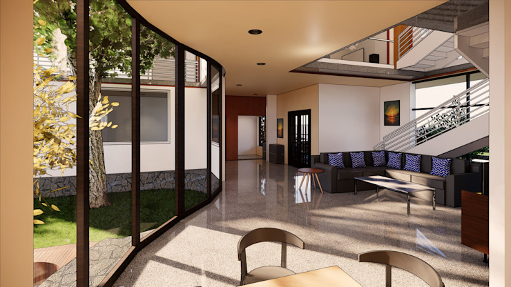 Living Room-Backyard MAP Architects Modern Living Room Engineered Wood Wood effect