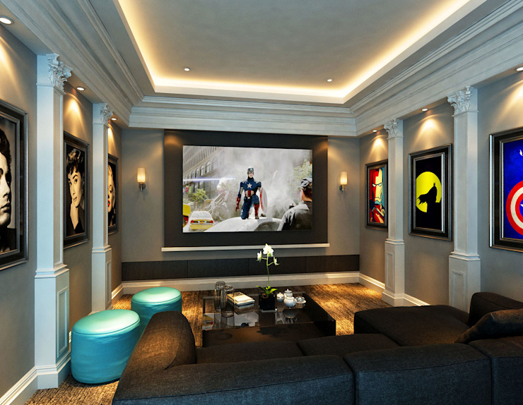 Modern Classic Personal Home Theatre Classic style media rooms by Latitude Design Sdn Bhd Classic